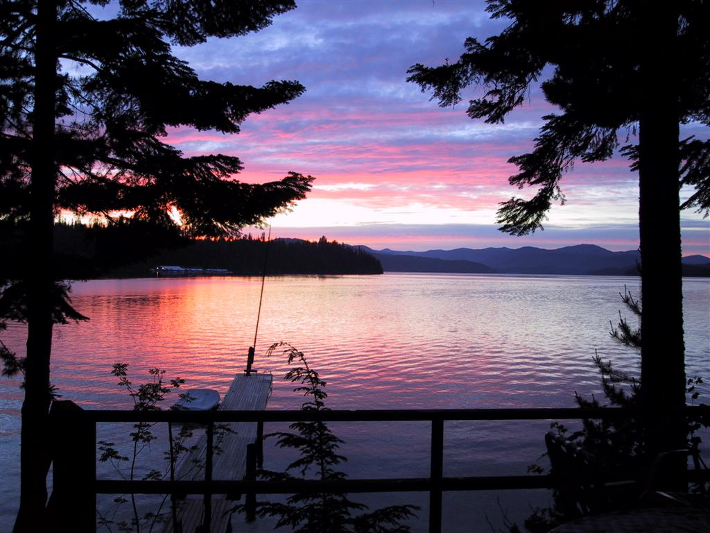 Sunset from Cavanaugh Bay Resort at Priest Lake