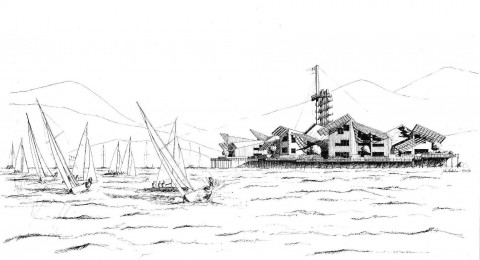 A thesis rendering of The Fresno Yacht Club