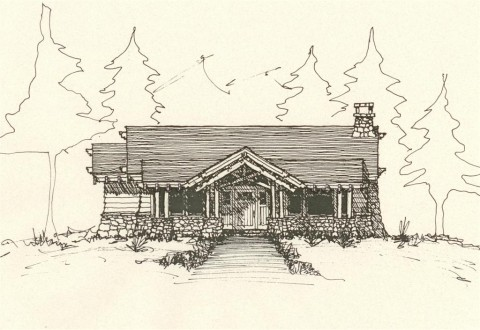 Cabin Front Entry Elevation