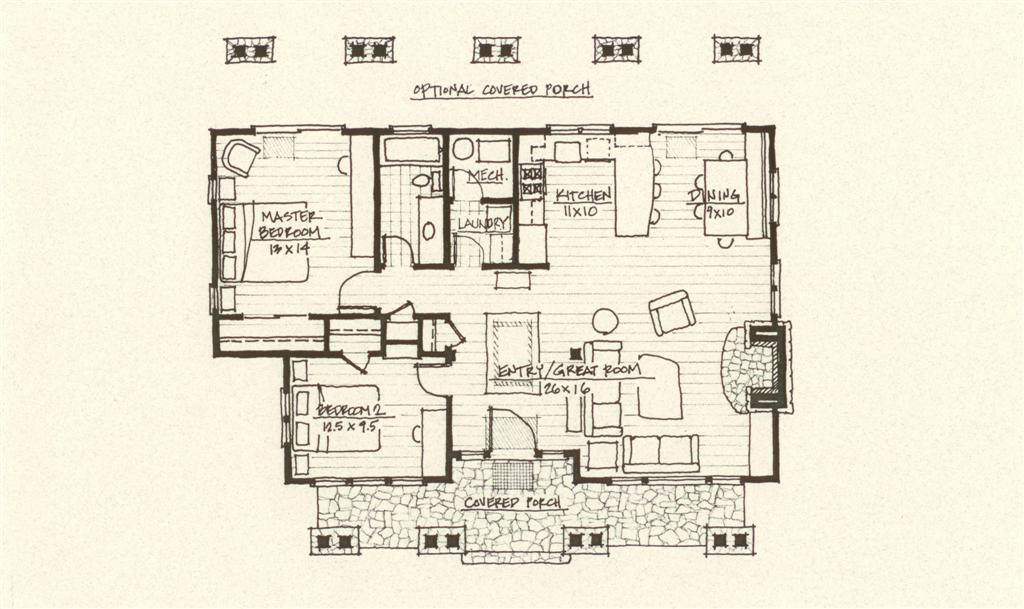 Rustic mountain cabin floorplans find house plans for Mountain cabin house plans