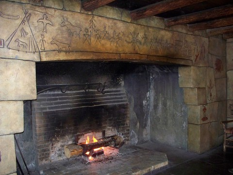 "The Lake McDonald Lodge masonry fireplace at Glacier National Park.  The opening is about 6'-6"" high."