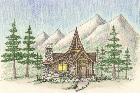 Storybook Cabin Front Elevation