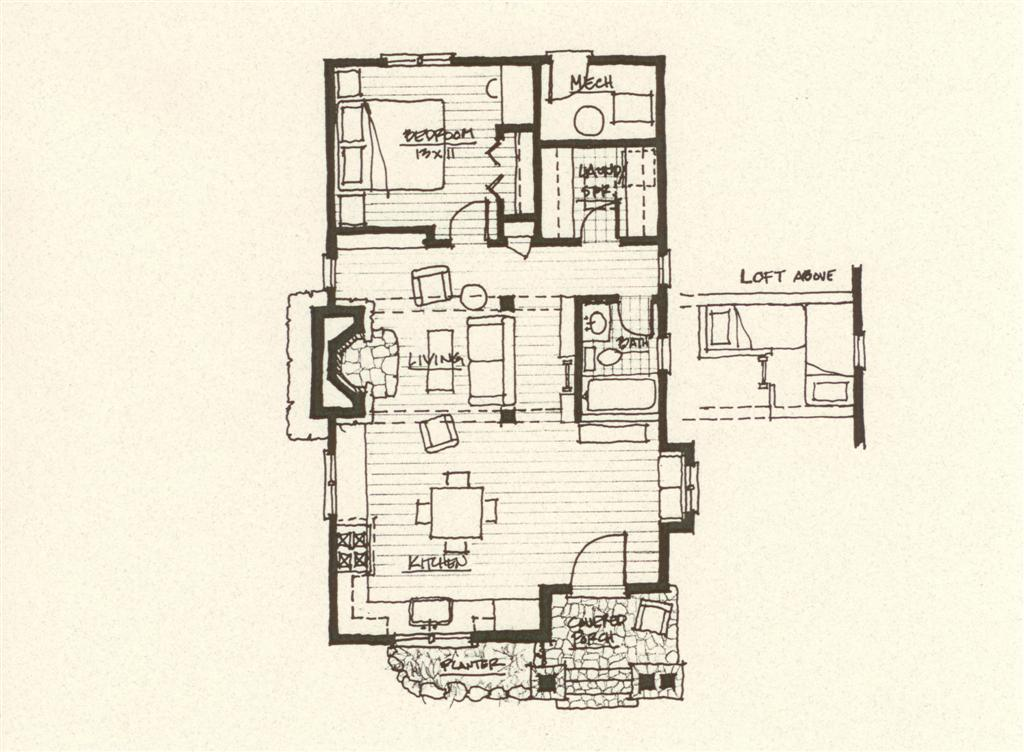 Interior design of 24x32 cabin joy studio design gallery for Cabin style floor plans