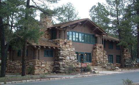 Stone accents on the grand canyon ranger station help give the building a bold appearance.