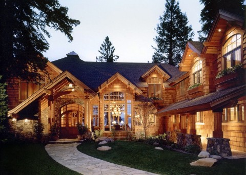 Rustic Shingle Style Lake House