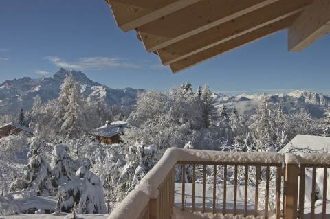 Mountain home deck view